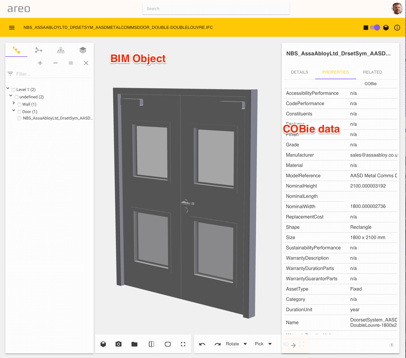 IFC BIM object with COBie data and geometry