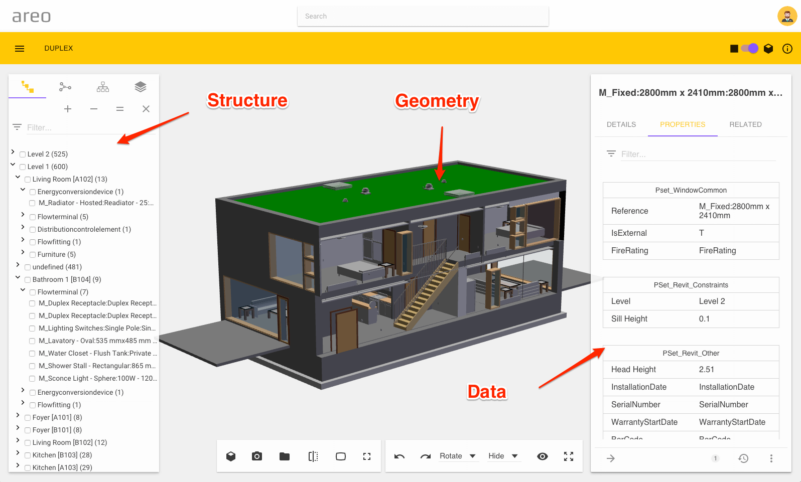 IFC Model Contents - Geometry, structure and data