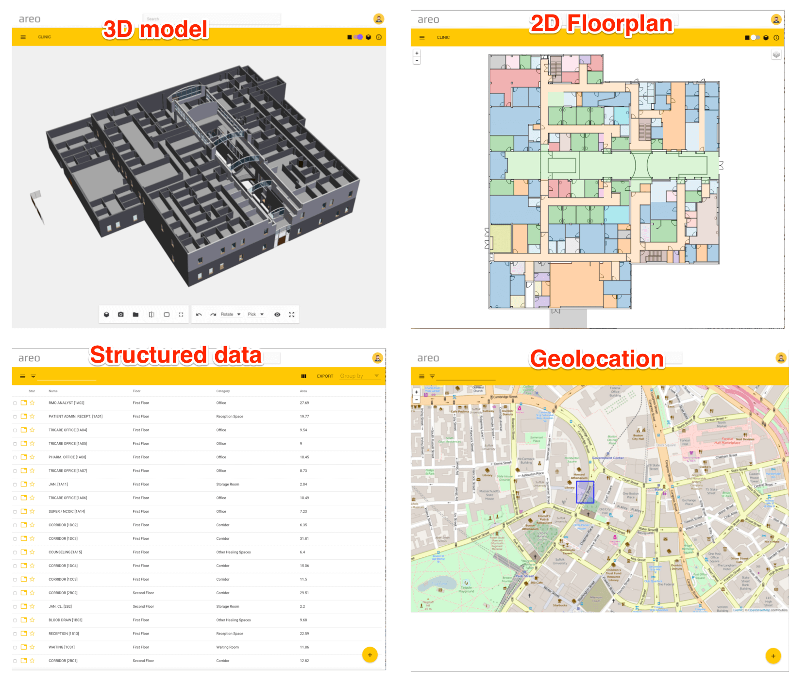 BIM FM Handover - IFC Different model views - 3d model, 2d floorplan, structured data, geolocation