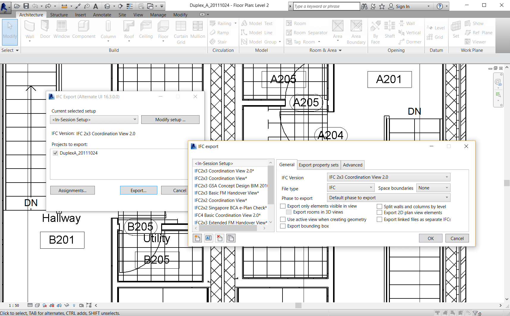 Revit IFC export settings