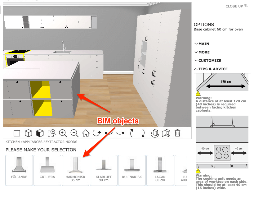 The Ikea home planner as a BIM tool with BIM objects