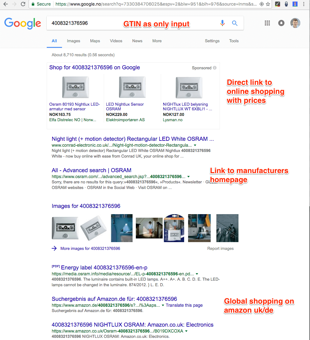 Googling for GTIN product number